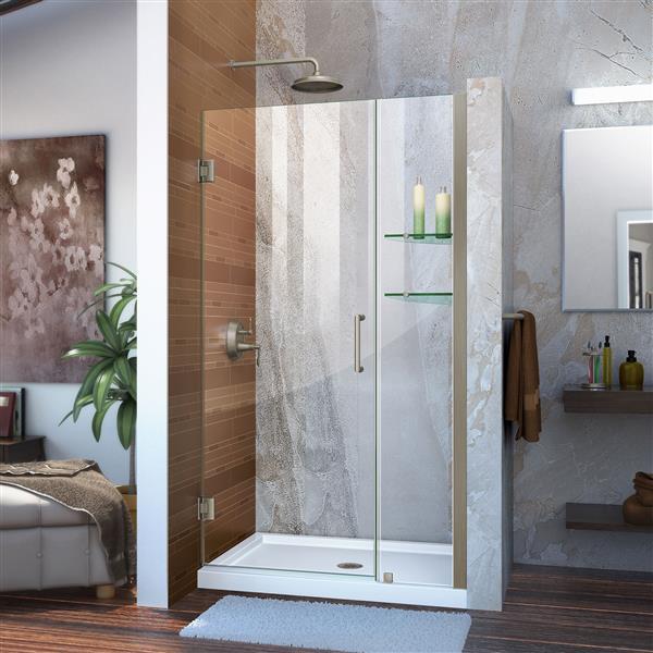 DreamLine Unidoor Frameless Shower Door - 39-40-in x 72-in - Brushed Nickel