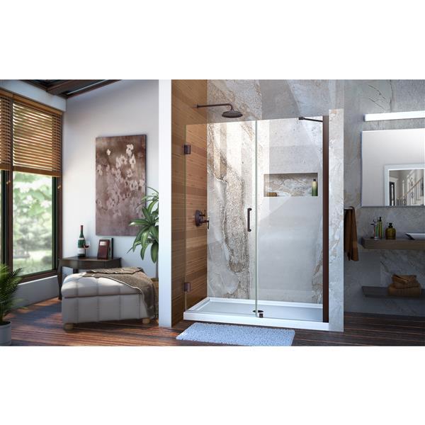 Porte de douche en alcôve Unidoor de DreamLine, 48-49 po x 72 po, bronze huilé