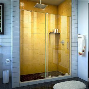 Porte de douche en verre Mirage-Z de DreamLine, 50-54 po x 72 po, nickel brossé