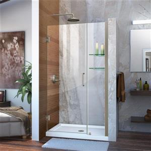 Porte de douche en verre Unidoor de DreamLine, 42-43 po x 72 po, nickel brossé