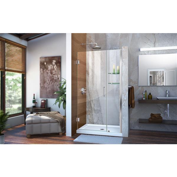 DreamLine Unidoor Frameless Shower Door - 40-41-in x 72-in - Chrome