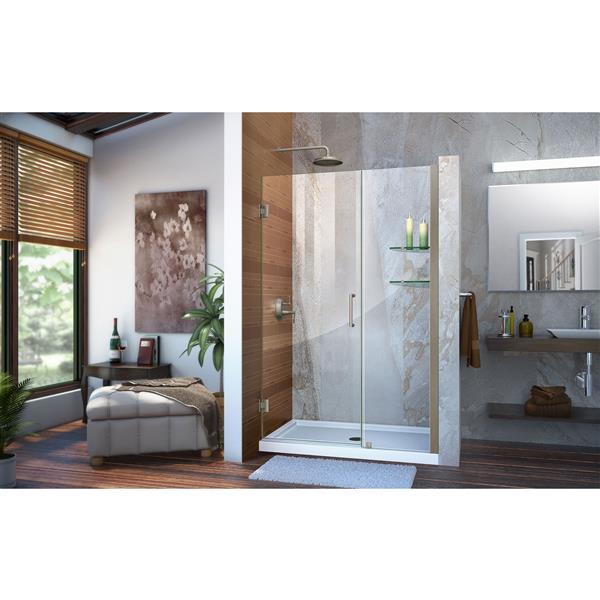 DreamLine Unidoor Alcove Shower Door - 47-48-in x 72-in - Brushed Nickel