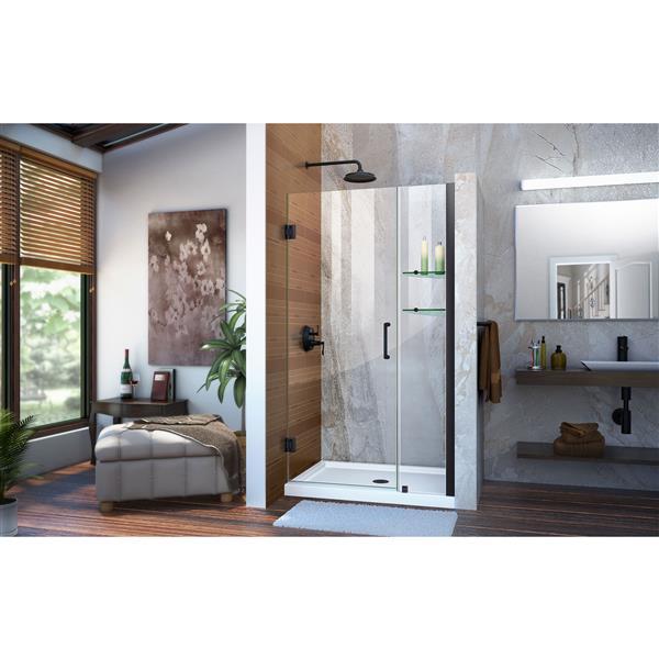 DreamLine Unidoor Frameless Shower Door - 39-40-in x 72-in - Satin Black