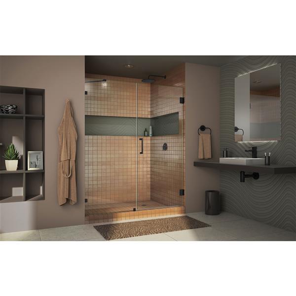 DreamLine Unidoor Frameless Shower Door - 49-50-in x 72-in - Satin Black