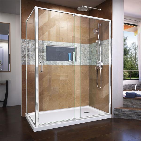 DreamLine Flex Shower Enclosure - 56.44-60.44-in x 72-in - Chrome