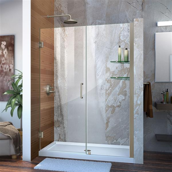 DreamLine Unidoor Frameless Shower Door - 53-54-in x 72-in - Brushed Nickel