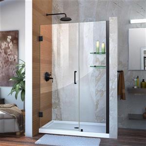 Porte de douche en verre Unidoor de DreamLine, 44-45 po x 72 po, noir satiné