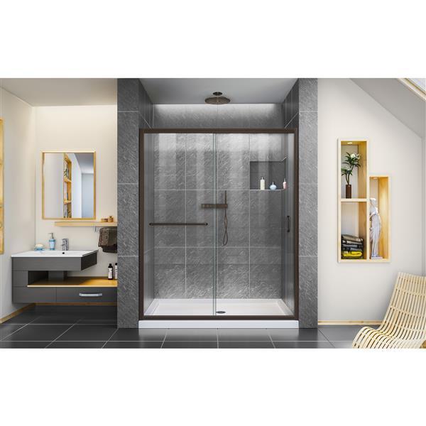 Porte de douche Infinity-Z de DreamLine, 50-54 po x 72 po, bronze huilé