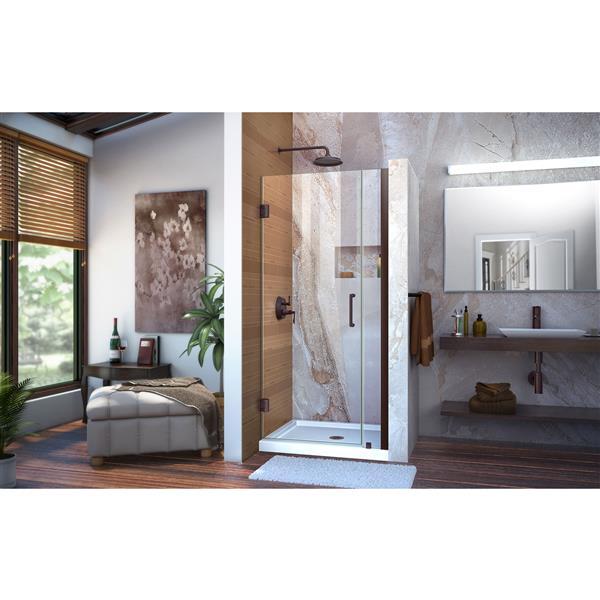 Porte de douche Unidoor de DreamLine, 32-33 po x 72 po, bronze huilé