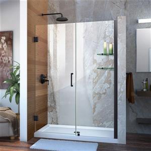 Porte de douche en verre Unidoor de DreamLine, 51-52 po x 72 po, noir satiné