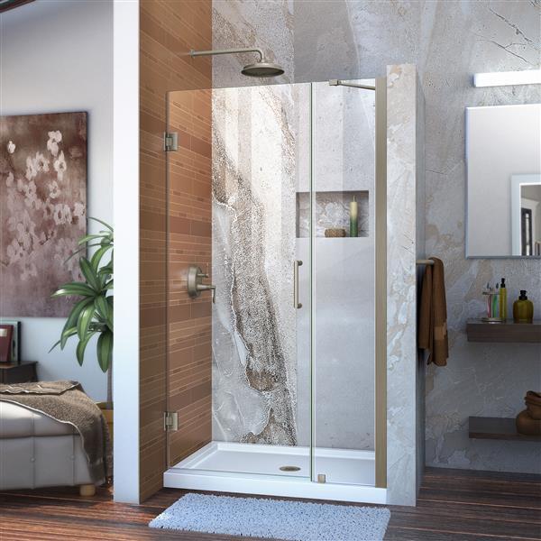 DreamLine Unidoor Shower Door - Clear Glass - 35-36-in x 72-in - Brushed Nickel