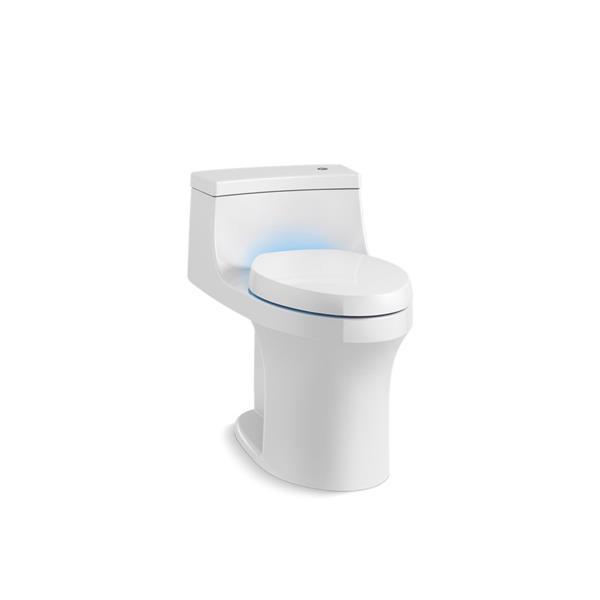 Toilette monopièce compacte allongée sans contact San Souci® de KOHLER, blanc