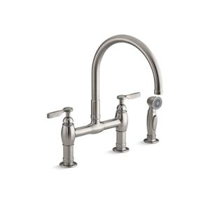 KOHLER Parq three-hole deck-mount bridge kitchen sink faucet - Vibrant Stainless