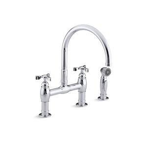 KOHLER Parq three-hole deck-mount bridge kitchen sink faucet - Polished Chrome
