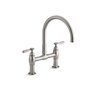 KOHLER Parq two-hole deck-mount kitchen sink faucet - Vibrant Stainless