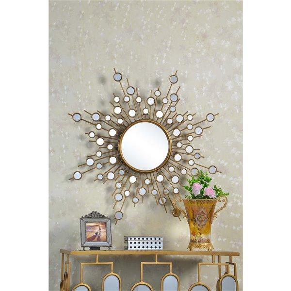 Plata Decor Star Wall Mirror - Gold - 39-in