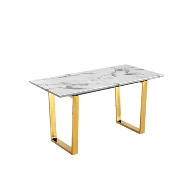 Plata Decor Rectangle Coffee Table - Faux Marble/Gold - 48-in x 24-in x 17-in
