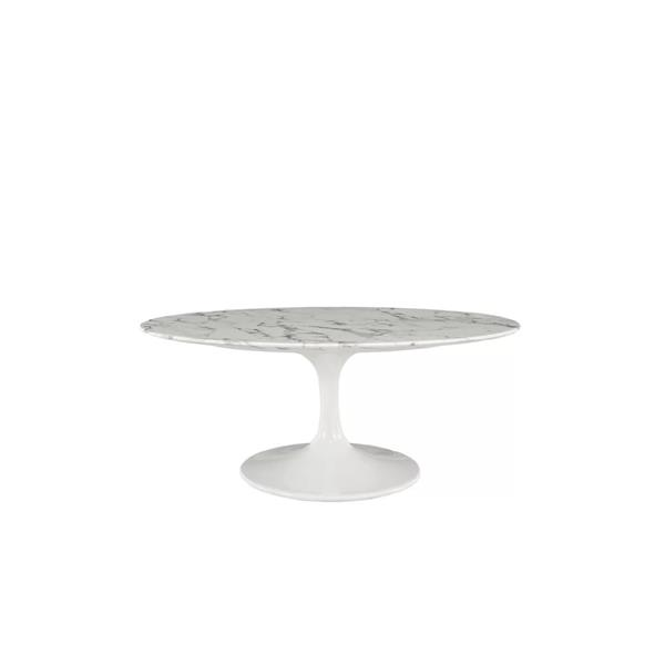 Plata Decor Oval Marble Coffee Table - White -  38-in