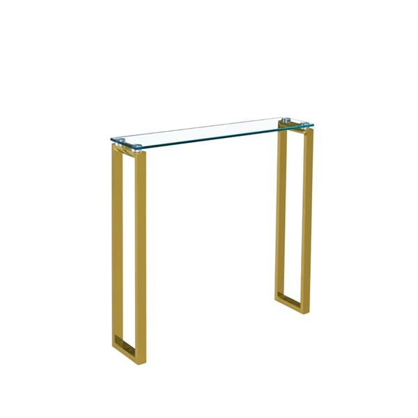 Plata Decor Gen Gold and Clear Glass Console - 30-in x 30-in x 8-in
