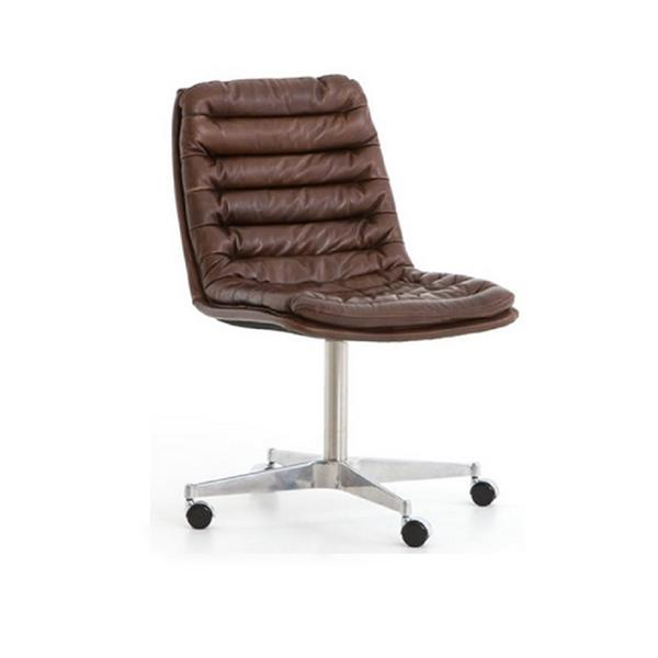 Plata Import Decor Ronin Leather, Brown Leather Office Chair