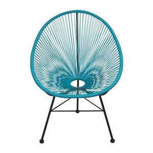 Plata Decor Acapulco Lounge Chair - Turquoise and Black Frame