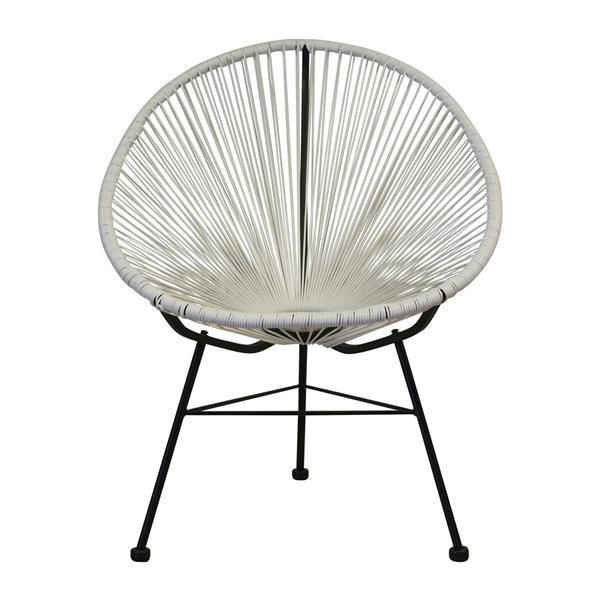 Plata Decor Acapulco Lounge Chair - White and Black Frame