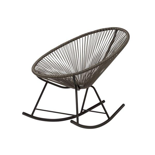 Plata Decor Acapulco Rocking Chair - Grey Cord and Black Frame