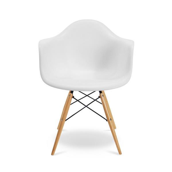 Plata Decor Eiffel Bucket Chair - White and Wooden Legs