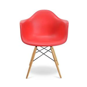 Plata Decor Eiffel Bucket Chair - Red and Wooden Legs