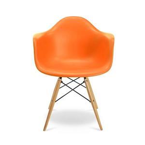 Plata Decor Eiffel Bucket Chair - Orange and Wooden Legs