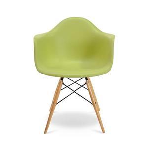 Plata Import Eiffel Bucket Chair - Apple Green and Wood Base