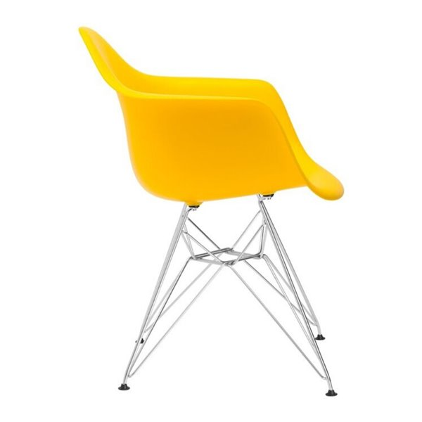 Plata Import Eiffel Bucket Chair - Yellow and Stainless Steel Base