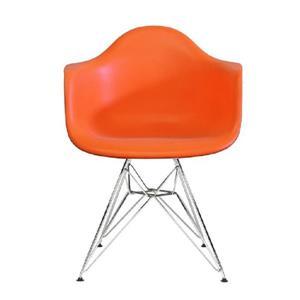 Plata Decor Eiffel Bucket Chair - Orange with Chrome Legs
