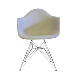 Plata Decor Eiffel Bucket Chair - Beige and Chrome