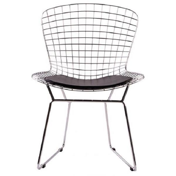Plata Decor Wire Side Chair - Chrome and Black Cushion