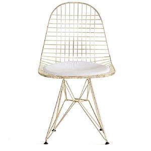 Plata Decor Mesh Armless Chair - White Cushion and Gold