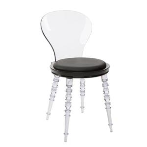 Plata Decor Duke Upholstered Dining Chair - Clear and Black