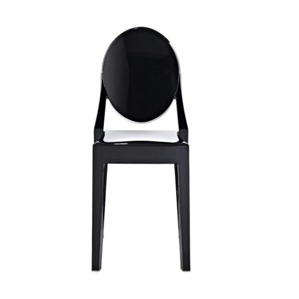 PlataI Decor Ghost Dining Chair Armless, Black Finish