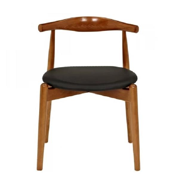 Plata Decor Atrio Armless Side Chair - Wood and Black Faux Leather