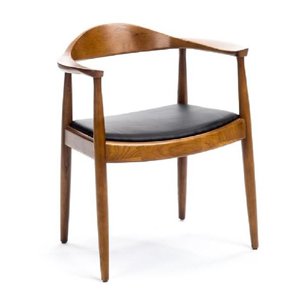 Plata Decor Atrio Side Chair - Wood and Black Faux Leather