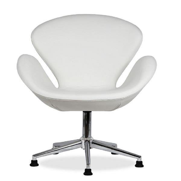 Plata Decor Swan Lounge Chair - Genuine Leather - White and Chrome