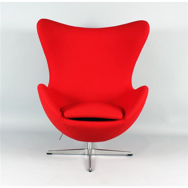 Plata Decor Egg Louge Chair - Red Fabric and Chrome Base