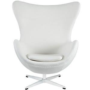 Plata Decor Egg Louge Chair - White Fabric and Chrome Base