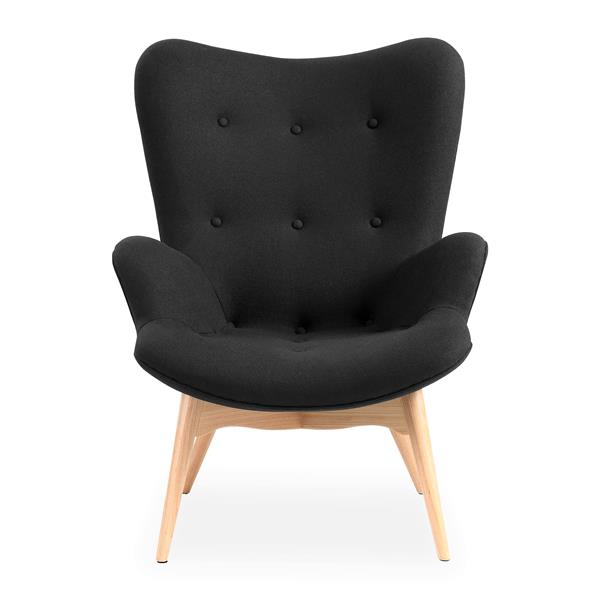 Plata Decor Hudson Lounge Chair - Black Velvet and Wood