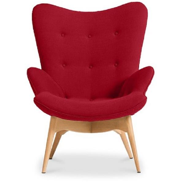 Plata Decor Hudson Lounge Chair - Red Velvet and Wood