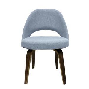 Plata Decor Sand Armless Dining Chair - Grey Fabric and Walnut
