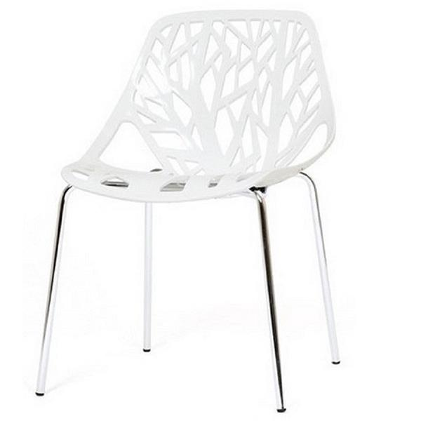 Plata Decor Tree Dining Chair - White and Chrome