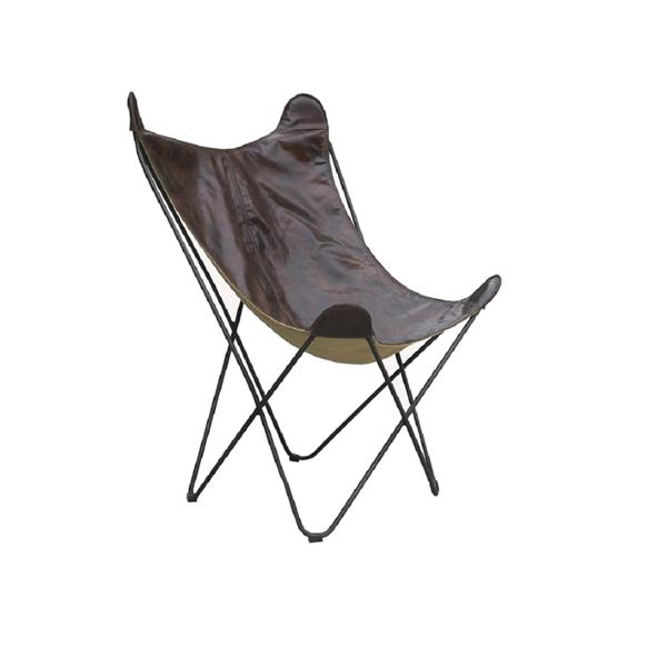 Plata Decr Papilon Lounge Chair - Genuine Leather Seat - Brown