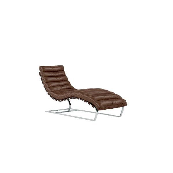 Plata Decor Avydo Lounge Chair - Brown Leather with Chrome Base