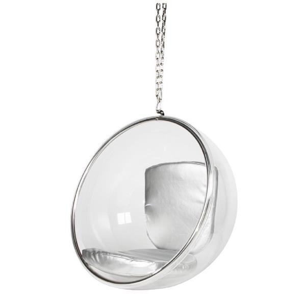 Plata Decor Bubble Hanging Chair - Clear with Silver Chain